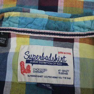 Checkered Shirts - Women's Super Bad Checkered Sz large Green & Blue